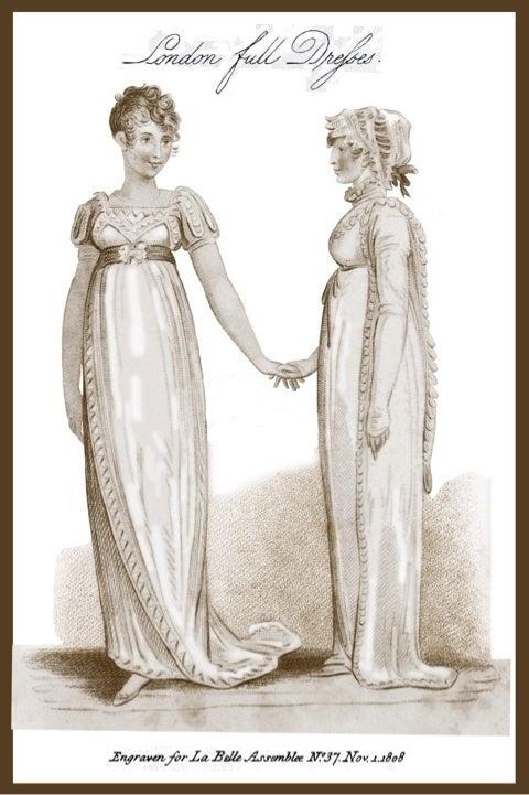 ドレスのウエストラインが下がり始める。 凝った裾と、ネックラインの装飾。 円錐型のスカート。 袖はつままれている。