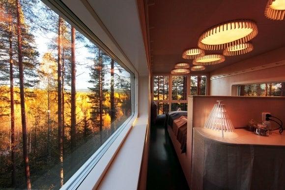 森の中に浮かぶ木のホテル