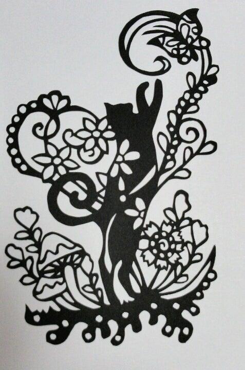 猫の切り絵