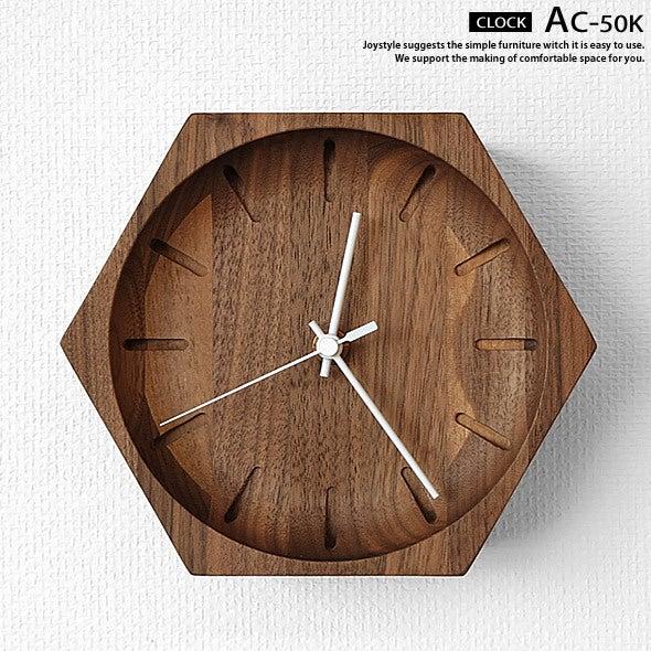 ウォールナット無垢材の壁掛け時計