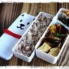 南瓜とツナチーズの揚げ餃子と鱈と春菊の味噌炒めなお弁当♪( ´▽`)の画像
