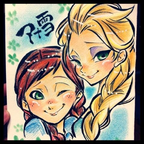 イラスト似顔絵アナと雪の女王 似顔絵師昭和レンズが描く笑顔