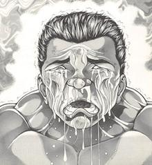 滝のような涙を流すアライJr.