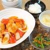 夕食☆酢鶏 小松菜の中華風お浸し 粟米湯の画像