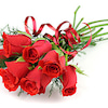 シンプルな赤いバラの花束の画像