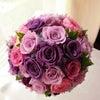 紫色を使ったラウンドブーケを埼玉県の新婦様へお届けいたしました。の画像
