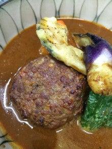 ラムひきハンバーグと野菜