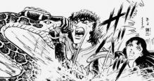 ヘビと戦う松田さん