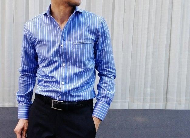 ロイヤルブルーストライプシャツ