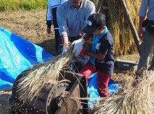 2014092728稲刈りツアー25脱穀子供