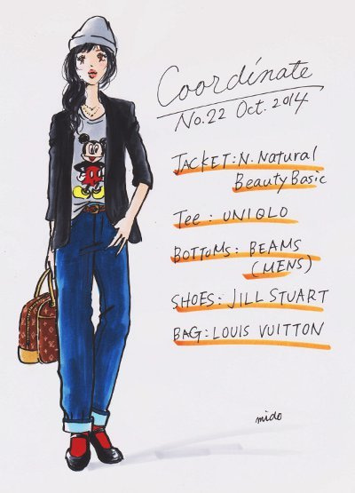 コーデイラストno22太デニムコーデ 貪欲母さんのファッション