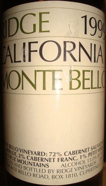 Ridge California Monte Bello 1999