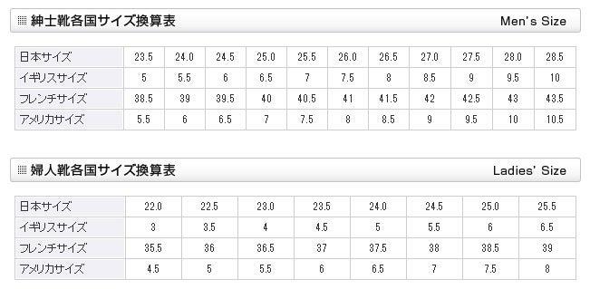 靴のサイズ:アメリカ⇔日本