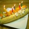子供の手作りバースディ・ロールケーキの画像