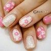 ポップでかわいいピンクのデイジーネイル☆*の画像