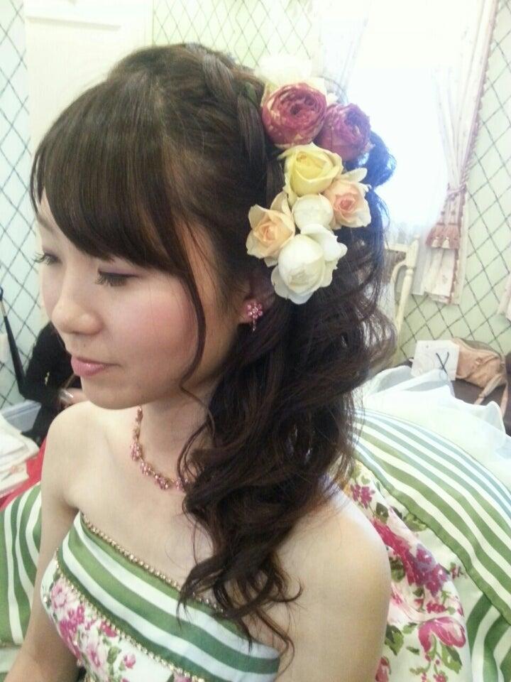 サイドアップ 結婚式 カラードレス