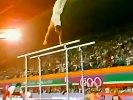 体操っておもしろいよな1984年ロサンゼルスオリンピック、梶谷信行の平行棒