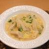 夕食☆白菜のとろとろスープ餃子 ほうれん草のナムルの画像