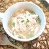 夕食☆鶏胸肉と押し麦のほっこりスープ♪ 目玉焼きのっけひき肉ごはんの画像