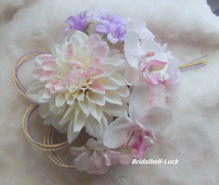 ダリア・桜・ラン・マムの和装髪飾り