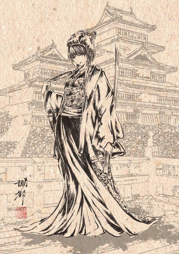 登久姫(筆ペンイラスト)