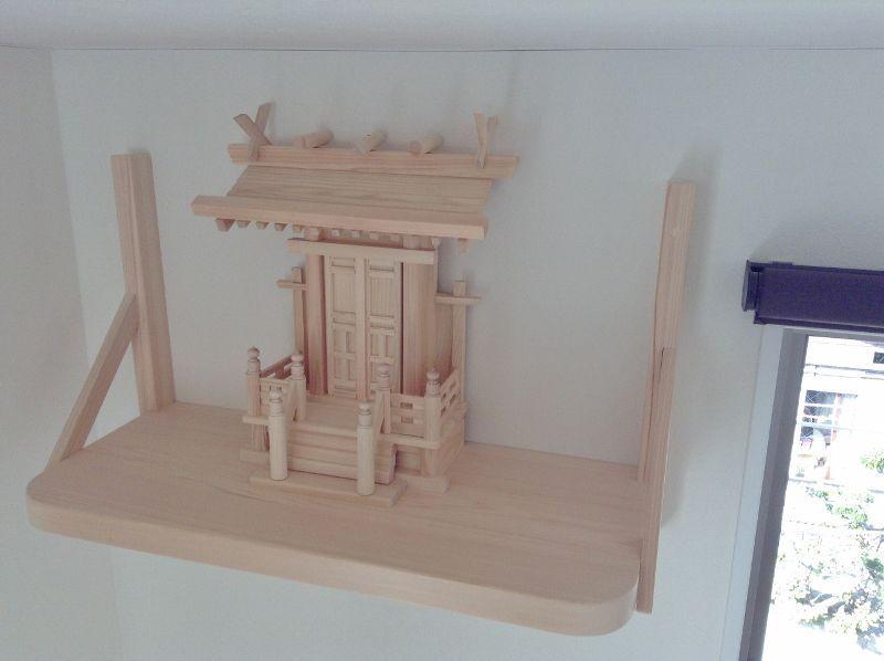 国産神棚/中神明(唐戸)+檜棚板