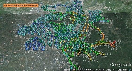 6月8日10日福島市渡利地区渡利中付近計測結果