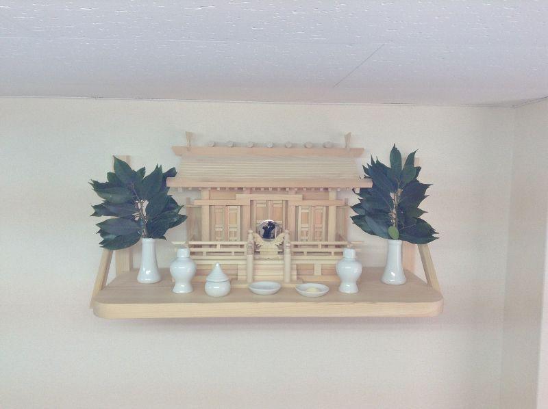 国産神棚+檜無垢板の組み合わせ