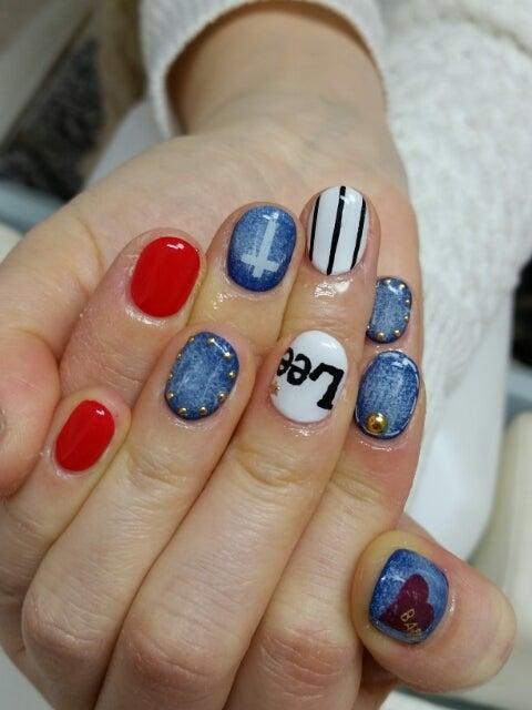 Leeデニムネイル☆デニム×チェックネイル☆フラワーアート|東大阪☆ネイルサロンkyo
