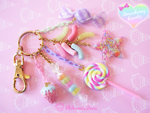 キャンディーと苺のキーホルダー