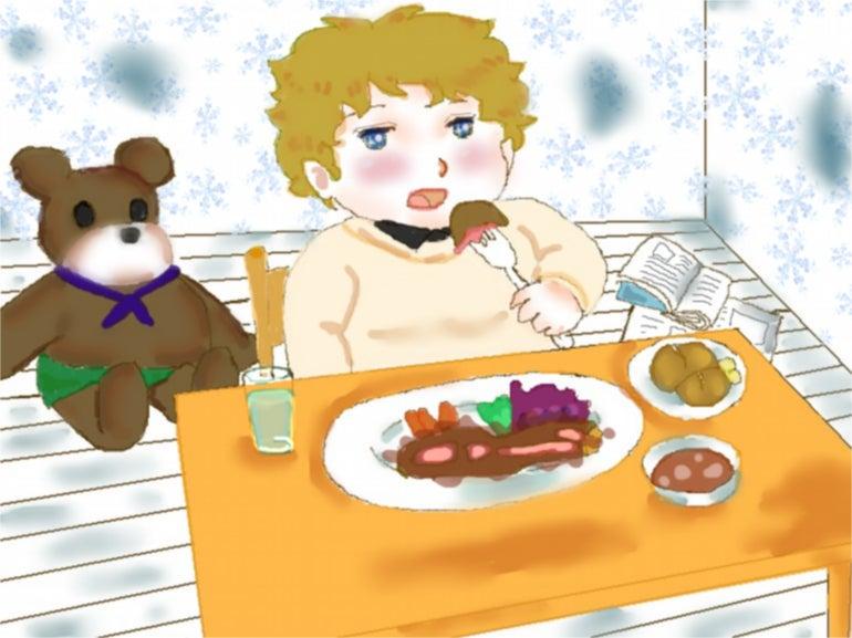食事の風景を描きましたw 漫画イラストのブログ