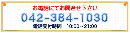 お電話にてお問合せ下さい 042-384-1030 電話受付時間 10:00〜21:00