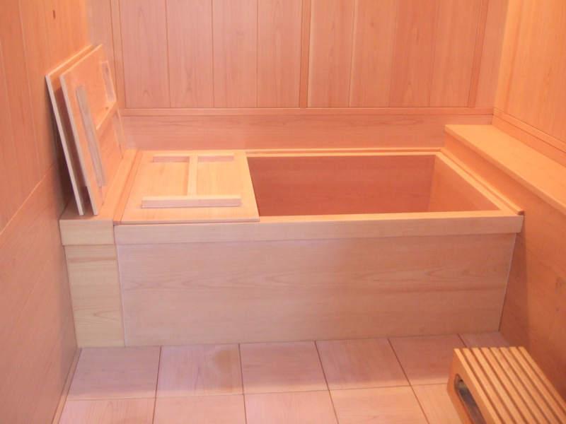 設置後の檜風呂