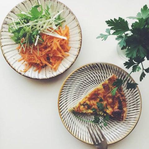 小鹿田焼 おんたやき 刷毛目 飛び鉋 お皿 小皿