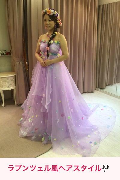 海外ウエディング後、帰国後の披露宴パーティでお召しになるカラードレスをオーダーされた花嫁様です。