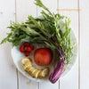 赤水菜とりんご、バナナ、いちごのグリーンスムージー。ときな粉と米粉のアップルケーク。の画像