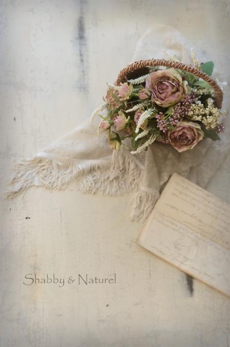 シャビー ブーケ 花束 ブルー 紫シャビーシック ナチュラル フレンチスタイル フラワーアレンジメント レッスン