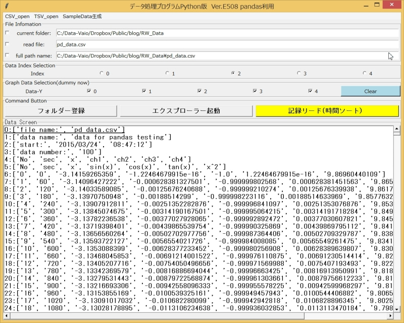 §65 : pandasデータ処理アプリ(2) CSVファイル読み込みとリスト ...
