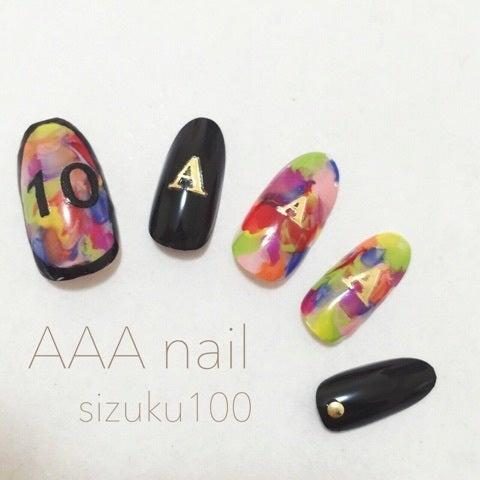 AAAネイル【ラップを使ったマーブルネイル】|しずくオフィシャルブログ「ほぼ100均ネイル」Powered by Ameba