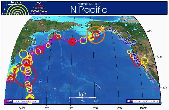 20150530大型地震 波形と地震音 ...