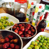 休日はいぐりもも&南高梅で果実酒作りの画像