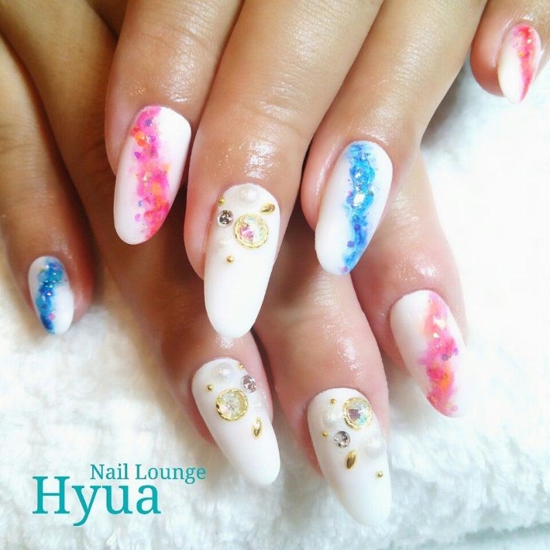天の川ネイル♥ホワイト×ピンクブルーマーブル|Shima by Nail Lounge Hyuaのブログ
