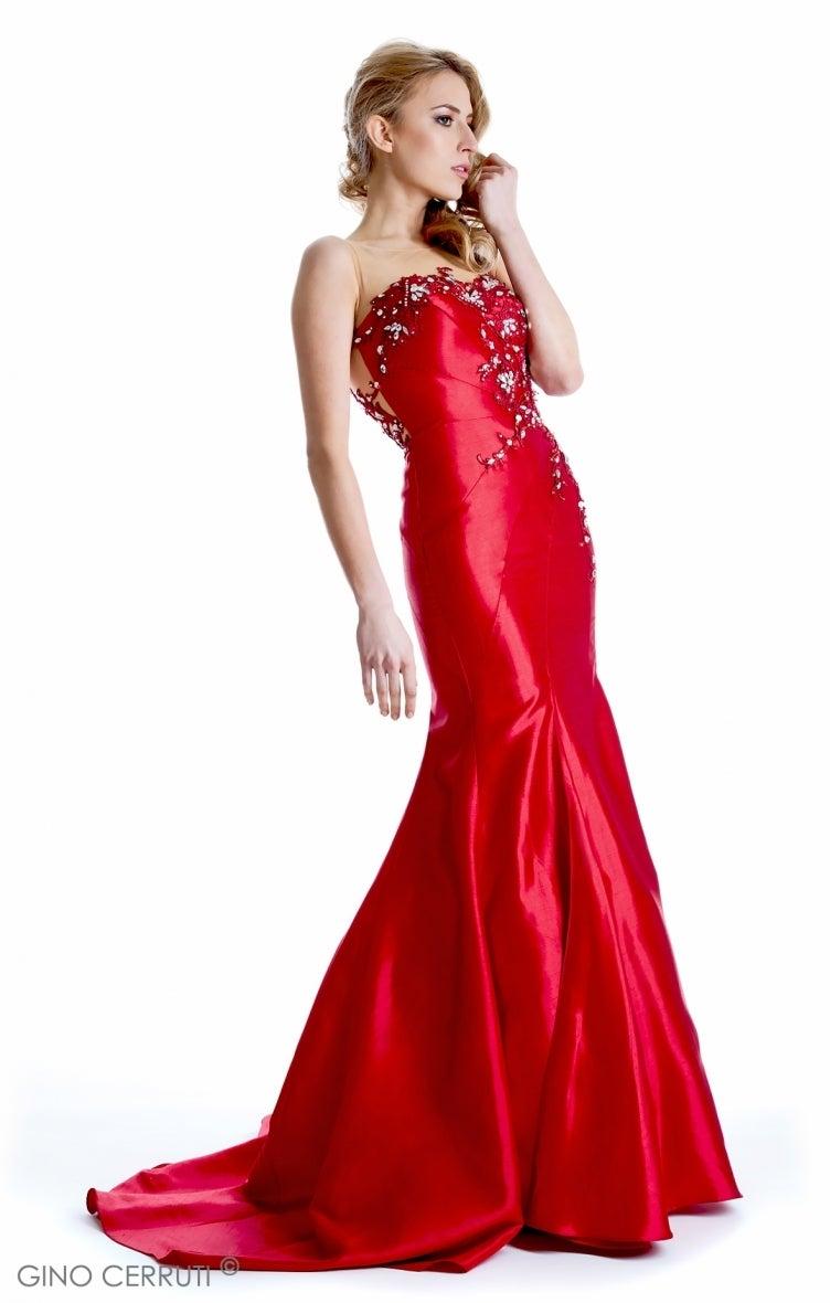 f83911673843e エンジタフタレースのシースルーのマーメイドドレス