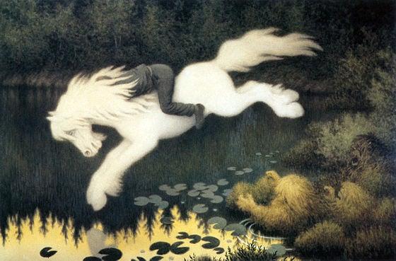 暗い背景から浮かび上がるような白く美しい馬。