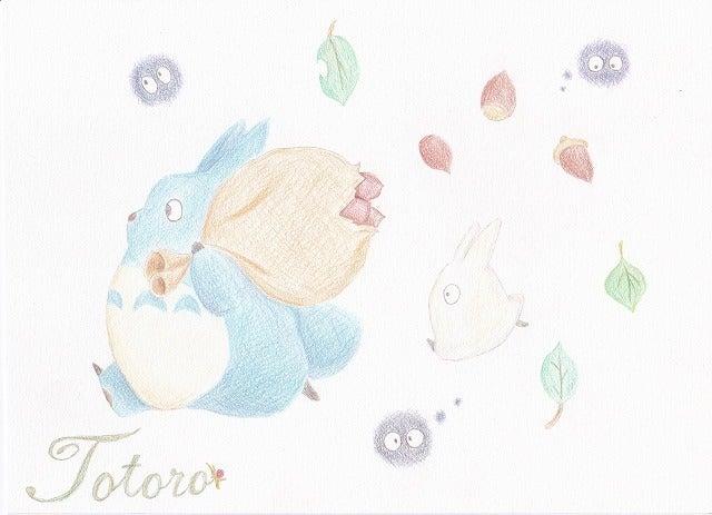 色鉛筆イラストとなりのトトロ とに描くブログ