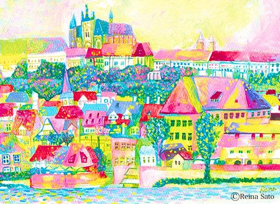 プラハの街並イラスト水彩画アクリルヨーロッパ