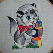 ねこちゃん刺繍