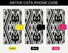 ●手帳型iPhoneケース 猫 ネイティブ柄