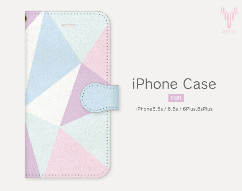 手帳型iPhoneケース 三角 パステルカラー