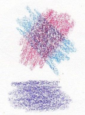 クーピーの重ね塗りで混色 1 紫色とこげ茶色 ペンタブレットや手描きで初心者がイラストを描くコツとか上達法とか